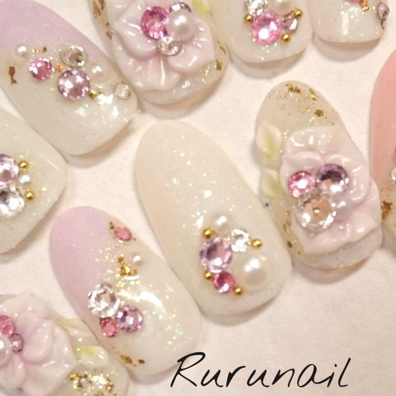 画像3: ピンクパープルお花キラキラ和装ネイル(217)