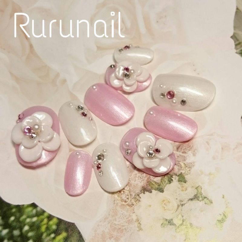画像3: ぷっくりお花とパールカラーネイルチップ(306)
