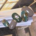 秋ダーク天然石のシンプルニュアンスネイルチップ(062