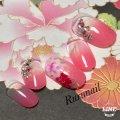 ピンクグラデーションとお花の和柄ネイルチップ(109)