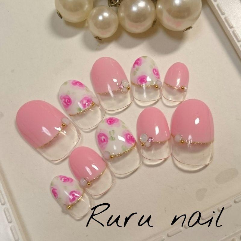 画像2: ピンクとローズのかわいいネイルチップ(180)