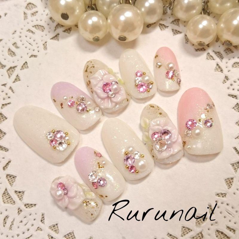 画像2: ピンクパープルお花キラキラ和装ネイル(217)