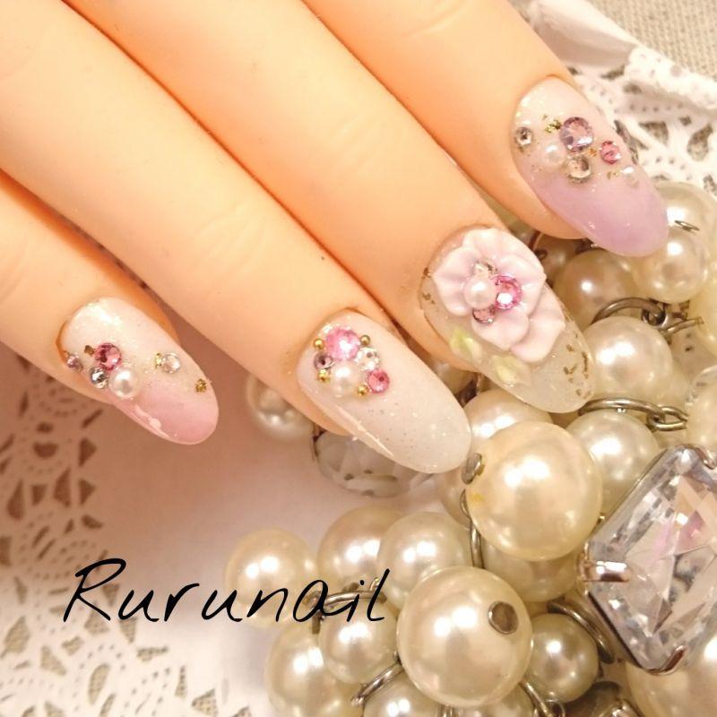 画像1: ピンクパープルお花キラキラ和装ネイル(217)