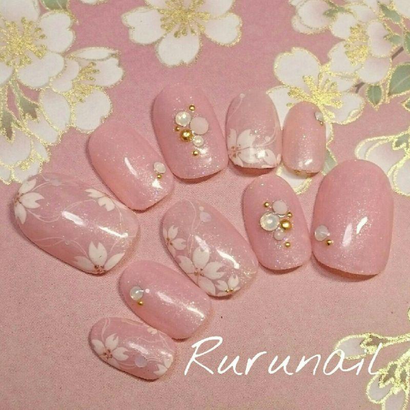 画像1: 桜咲くピンクの春ネイルチップ(247)