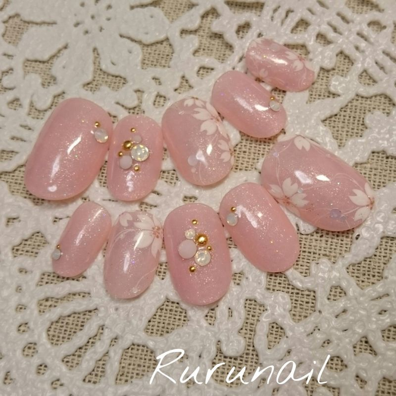 画像3: 桜咲くピンクの春ネイルチップ(247)