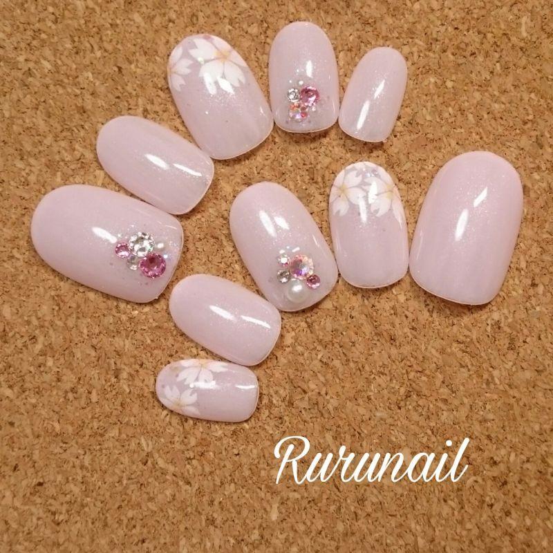 画像3: 桜とベビーピンクの上品かわいい春ネイルチップ(332)