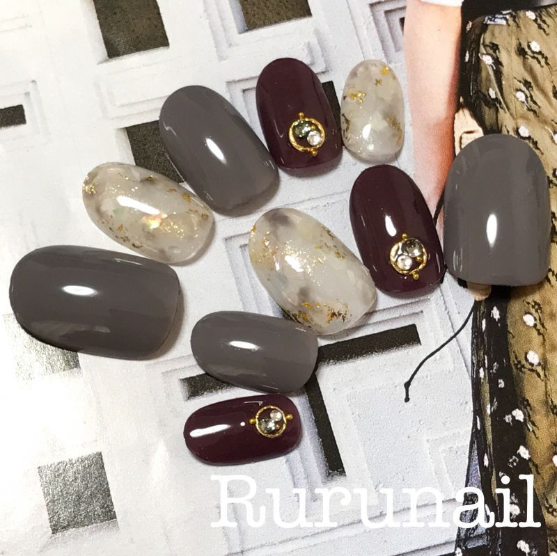 画像1: 完成品/天然石シェルの秋冬ネイルチップs16