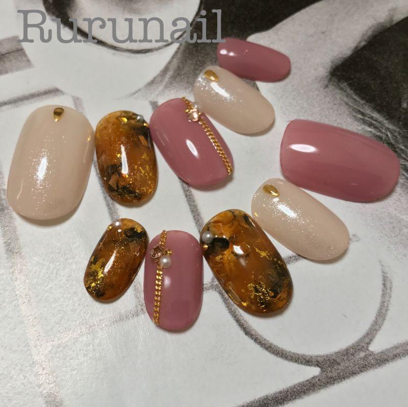画像2: 完成品/濃ゆいべっ甲とピンクの秋冬ネイルチップs23