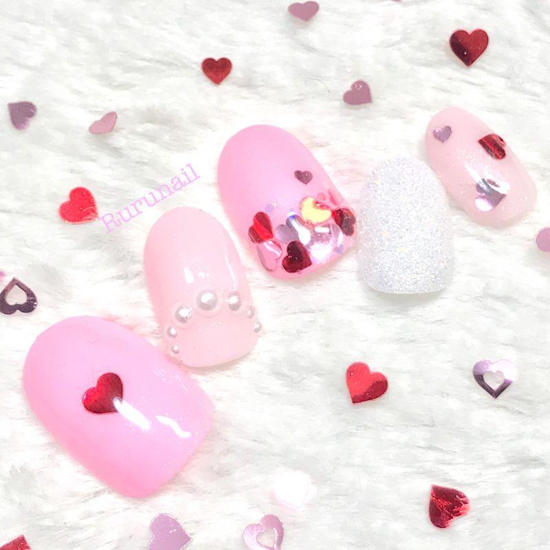 画像1: ピンクとハートのゆめかわネイル(013)