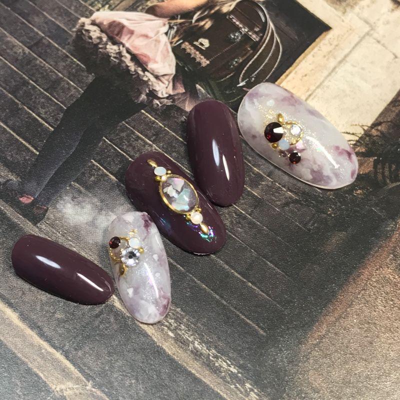 画像2: 大人カラーのタイダイ天然石シェルネイルチップ(356)