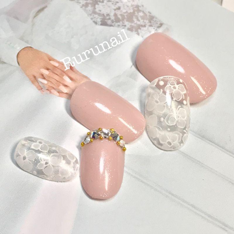 画像1: 可愛い花嫁さんのミニフラワーネイルチップ(028