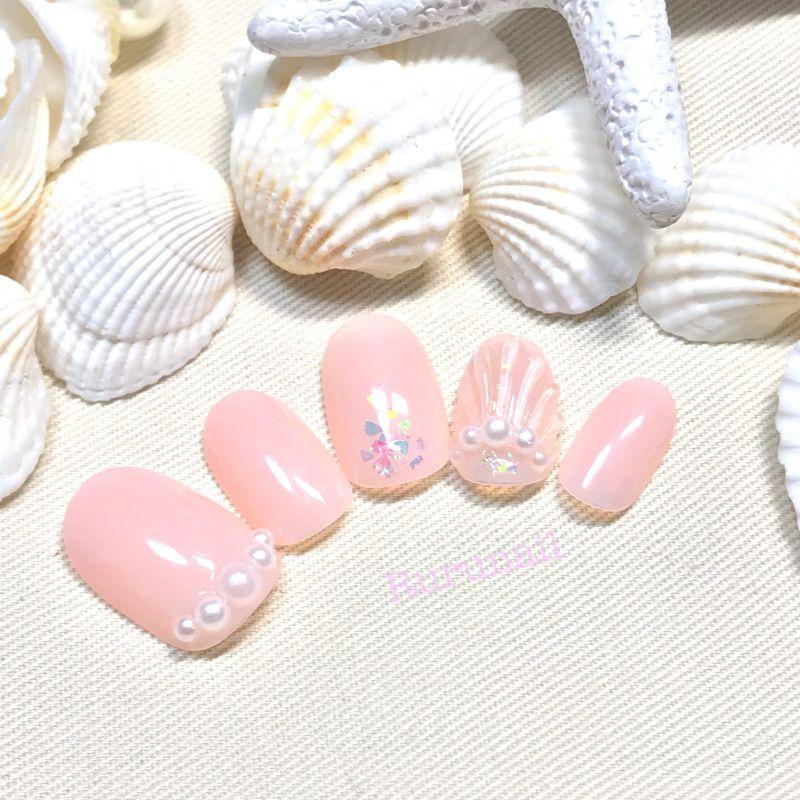 画像2: 人魚の鱗コーラルピンク夏ネイルチップ(032