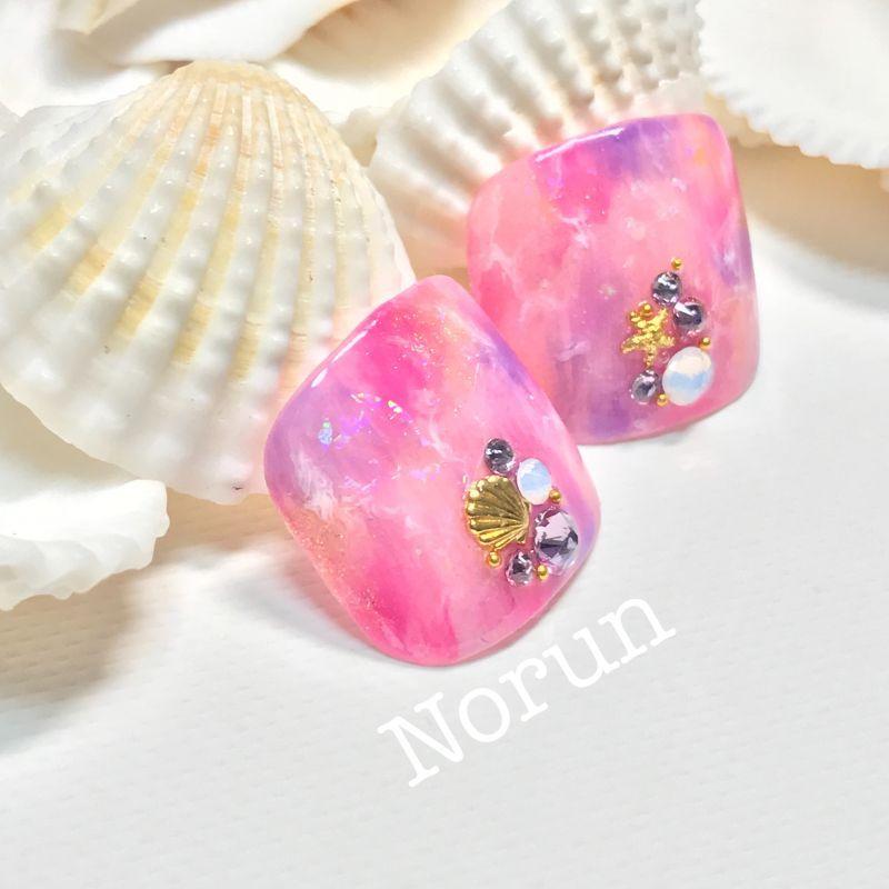 画像2: 鮮やかピンクの天然石ぺディチップ(p035親指のみ