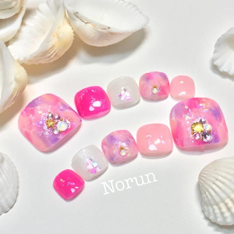 画像3: 鮮やかピンク天然石夏ぺディチップ(p035フルペディ10本セット