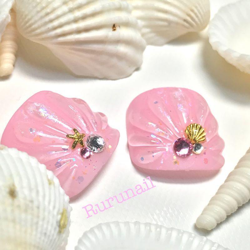画像1: ピンクの人魚の鱗ぺディチップ(p036親指のみ