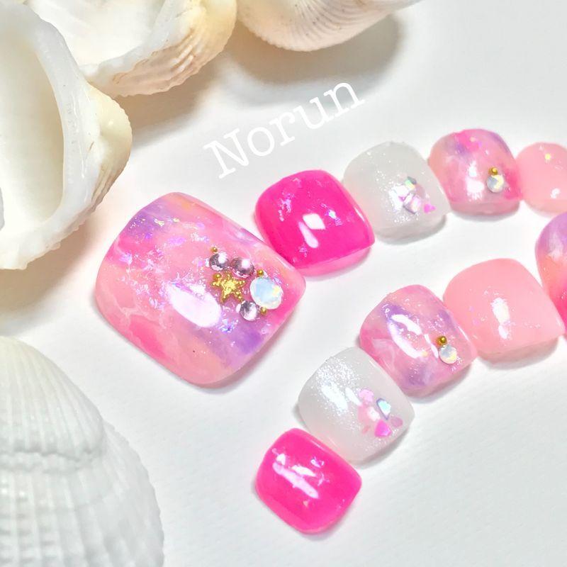 画像2: 鮮やかピンク天然石夏ぺディチップ(p035フルペディ10本セット