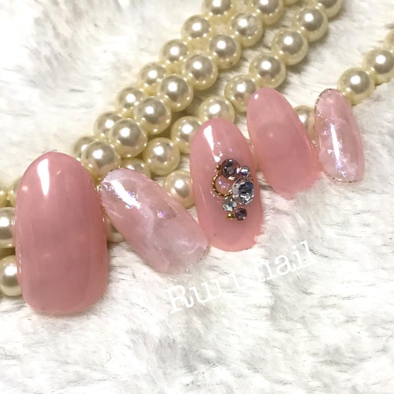 画像2: 美爪ピンクベージュの天然石ネイルチップ(047
