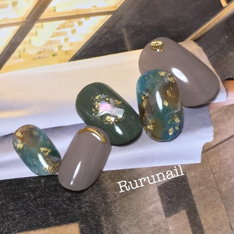 画像1: 秋ダーク天然石のシンプルニュアンスネイルチップ(062