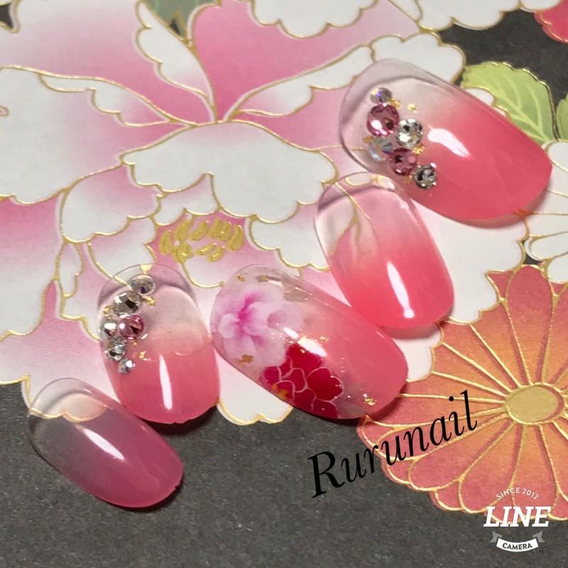 画像1: ピンクグラデーションとお花の和柄ネイルチップ(109)
