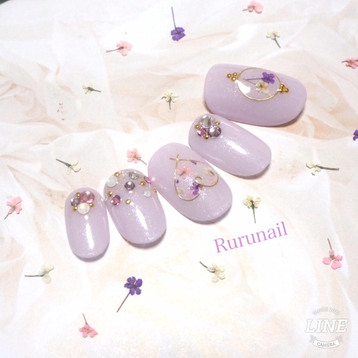 画像1: プリンセスの押し花ブライダルネイルチップ(076
