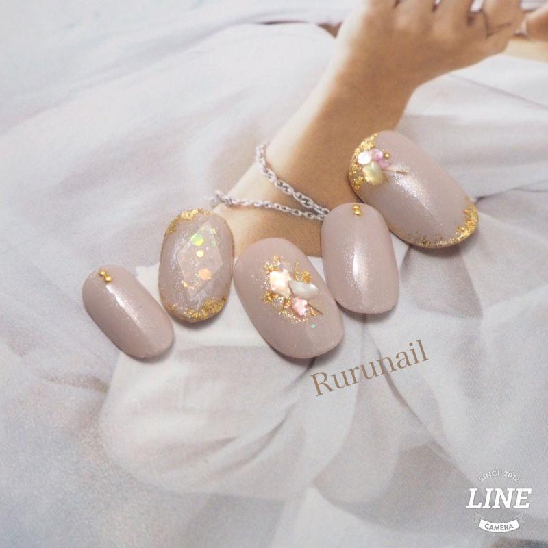 画像1: 宝石とシェルストーンの大人かわいいネイルチップ(081
