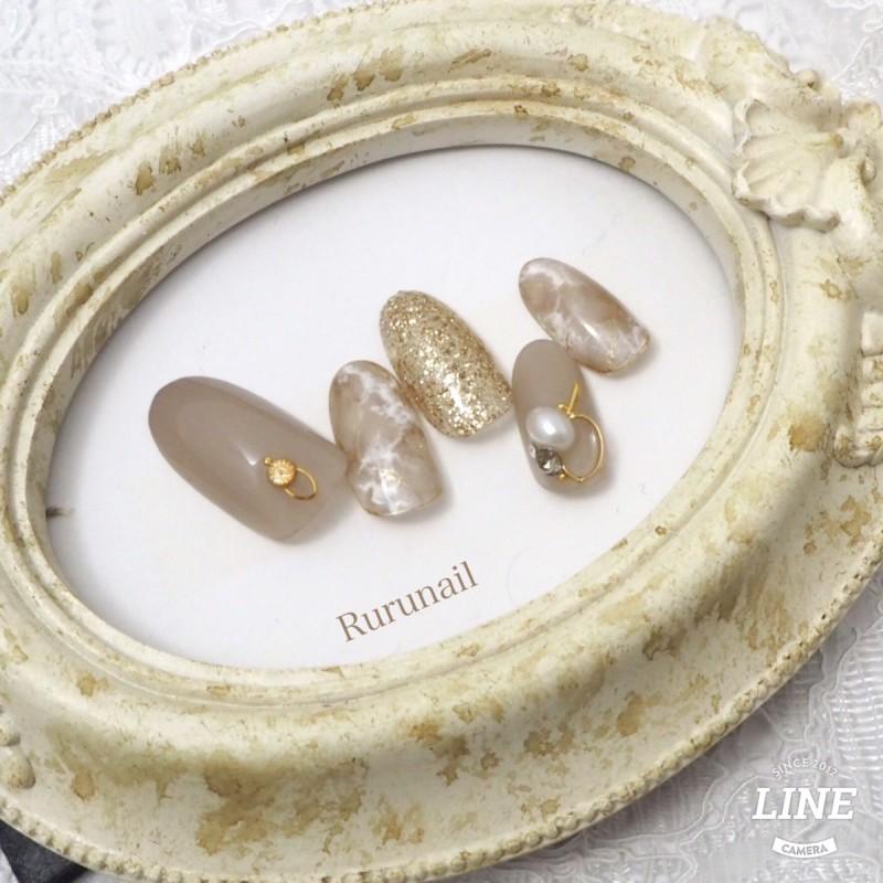 画像3: グレージュ系大理石とビジューのニュアンス綺麗系ネイルチップ(087