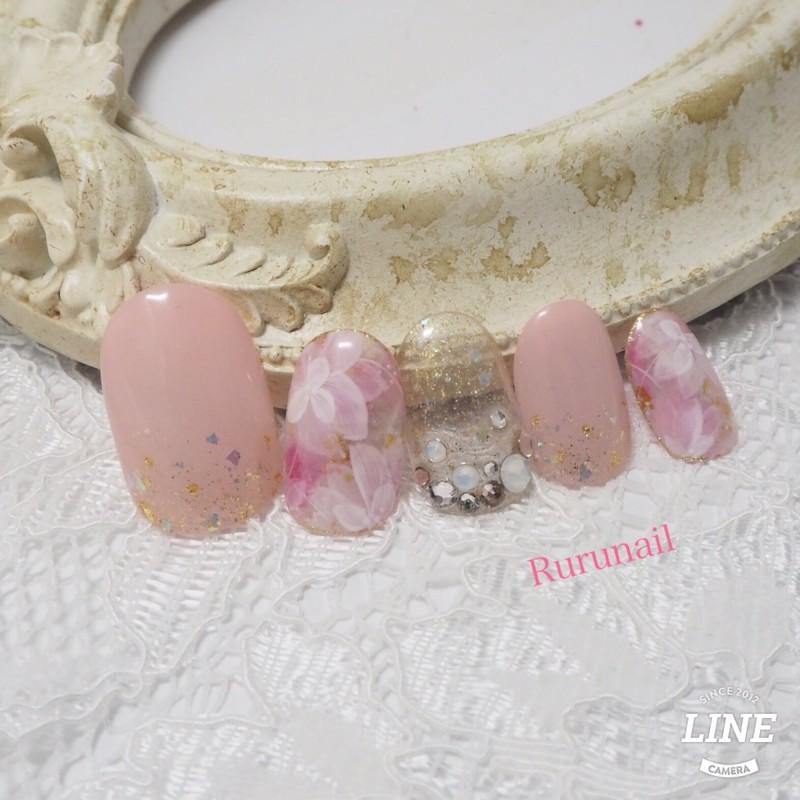 画像2: 奥行透けフラワーとピンクの華やかネイルチップ(121