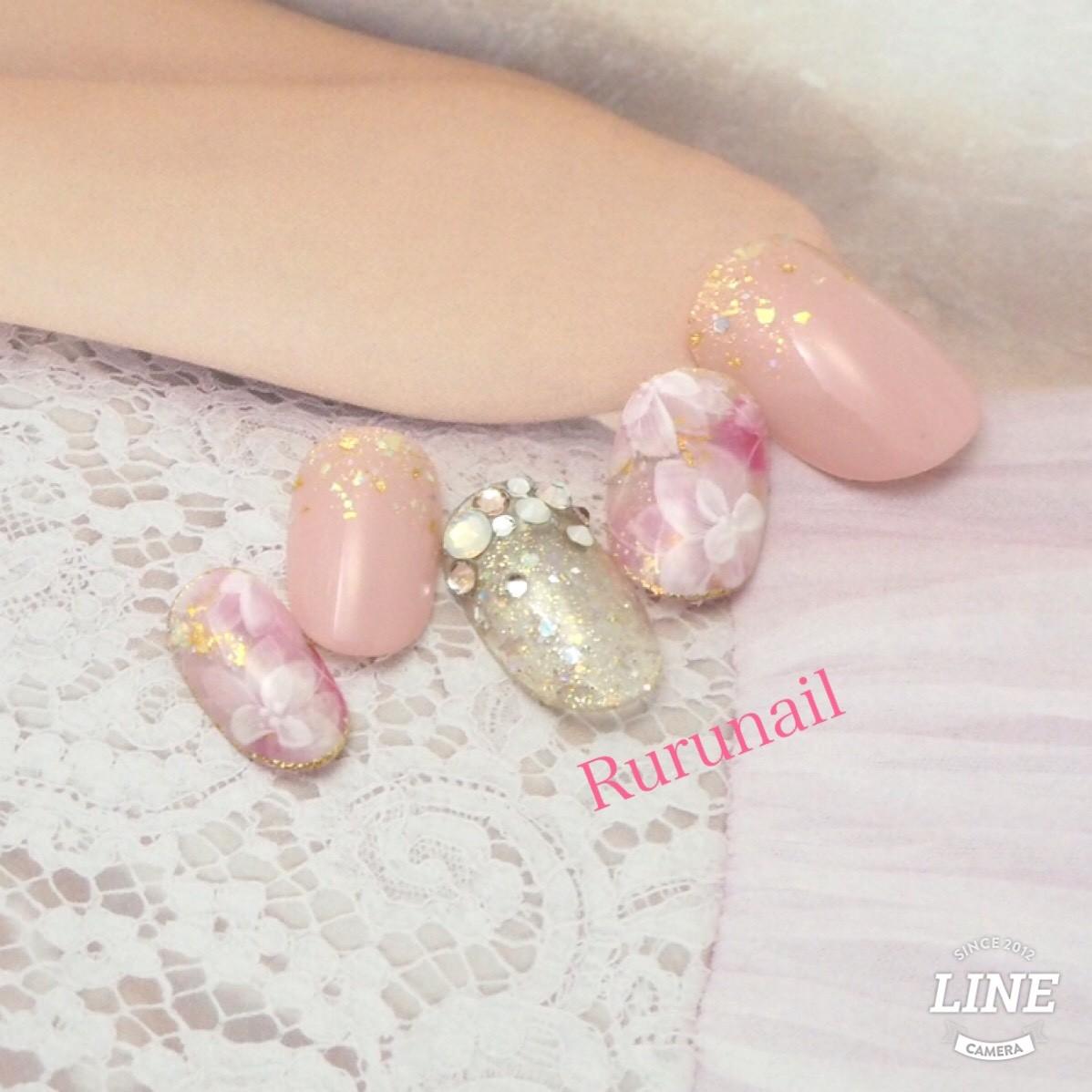 画像1: 奥行透けフラワーとピンクの華やかネイルチップ(121