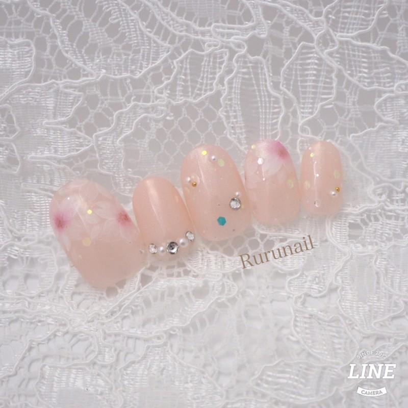 画像1: ふんわり桜のかわいい春ネイルチップ(140)