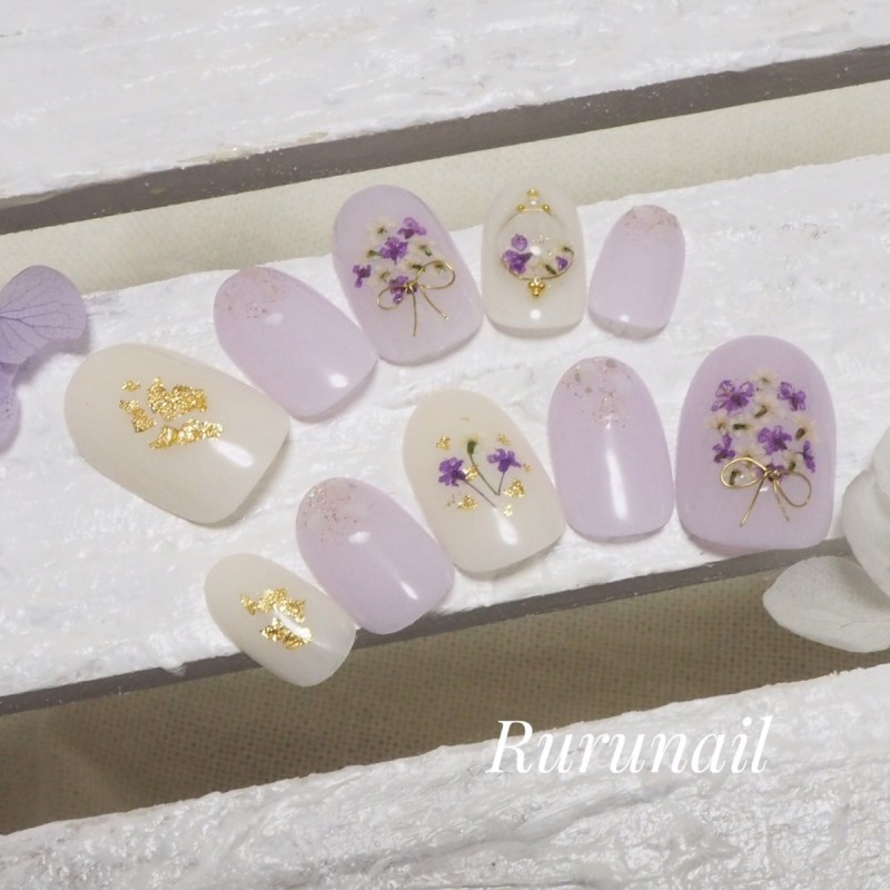 画像2: パステルパープルの押し花ブライダルネイルチップ(406