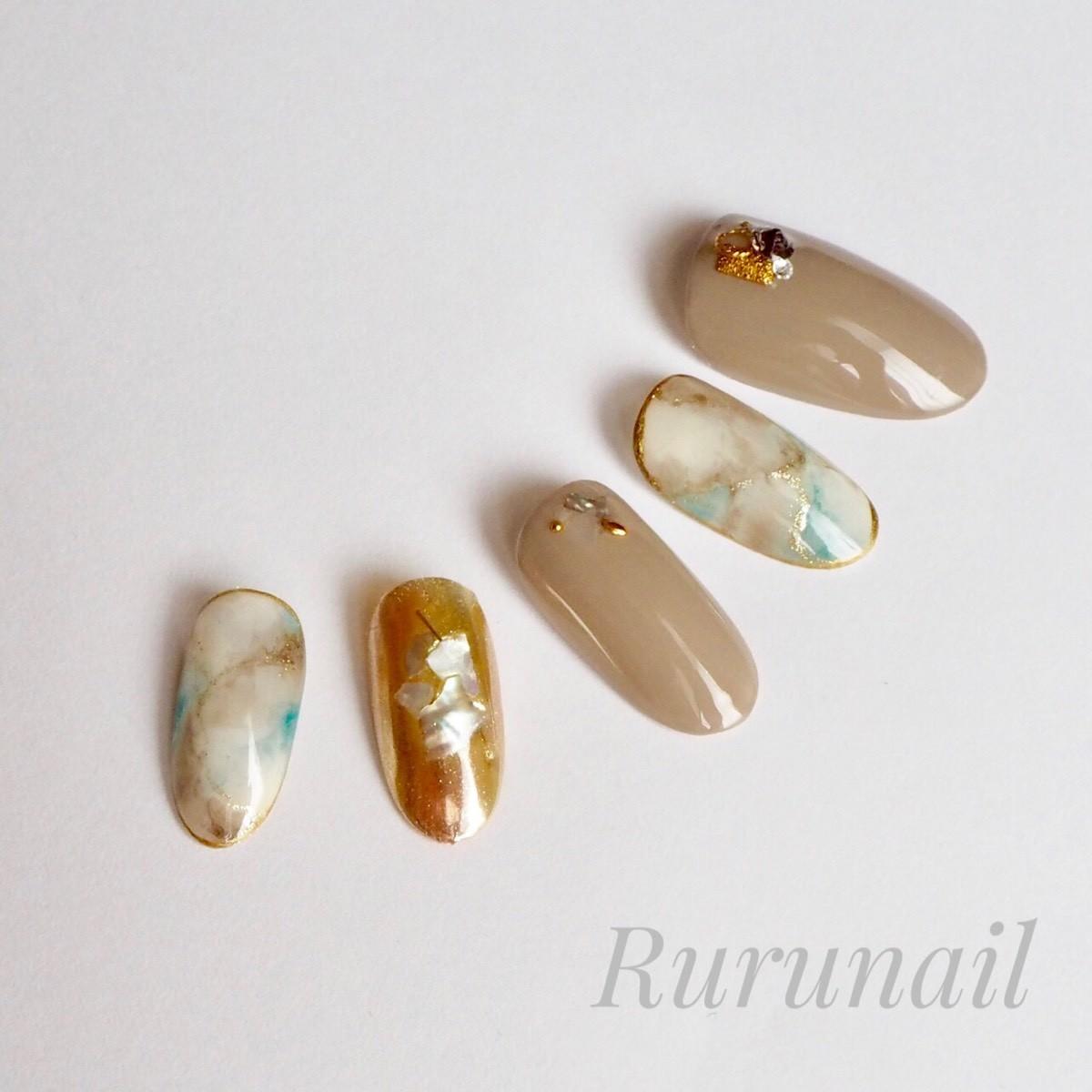 画像4: ナチュラルカラー天然石とミラーの夏ネイルチップ(408