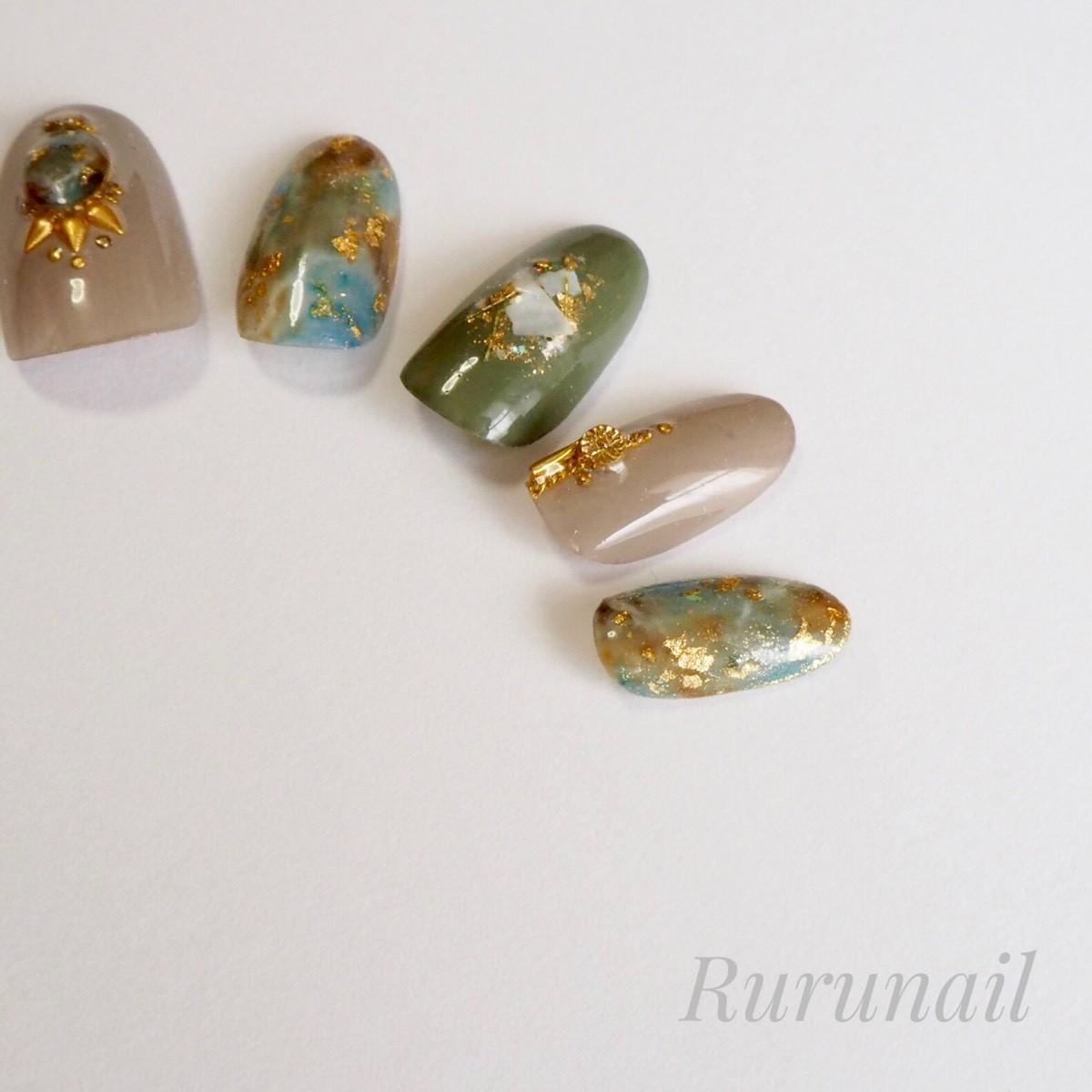 画像5: 秋ダーク天然石のニュアンスネイルチップ(037