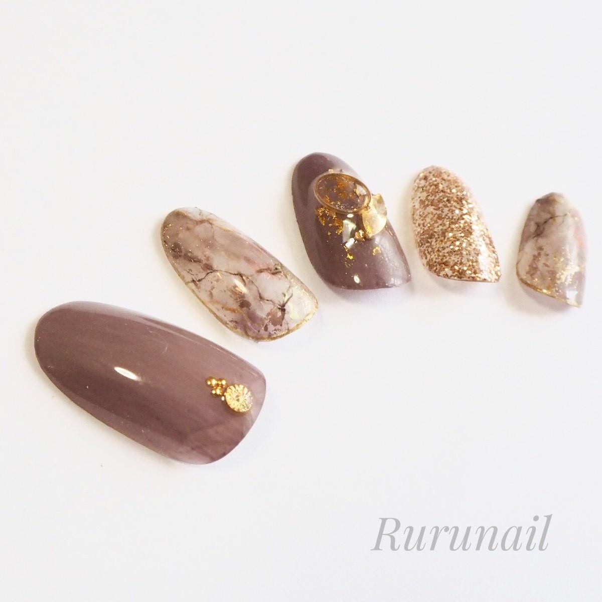画像4: ダークピンクの天然石とラメネイルチップ(078