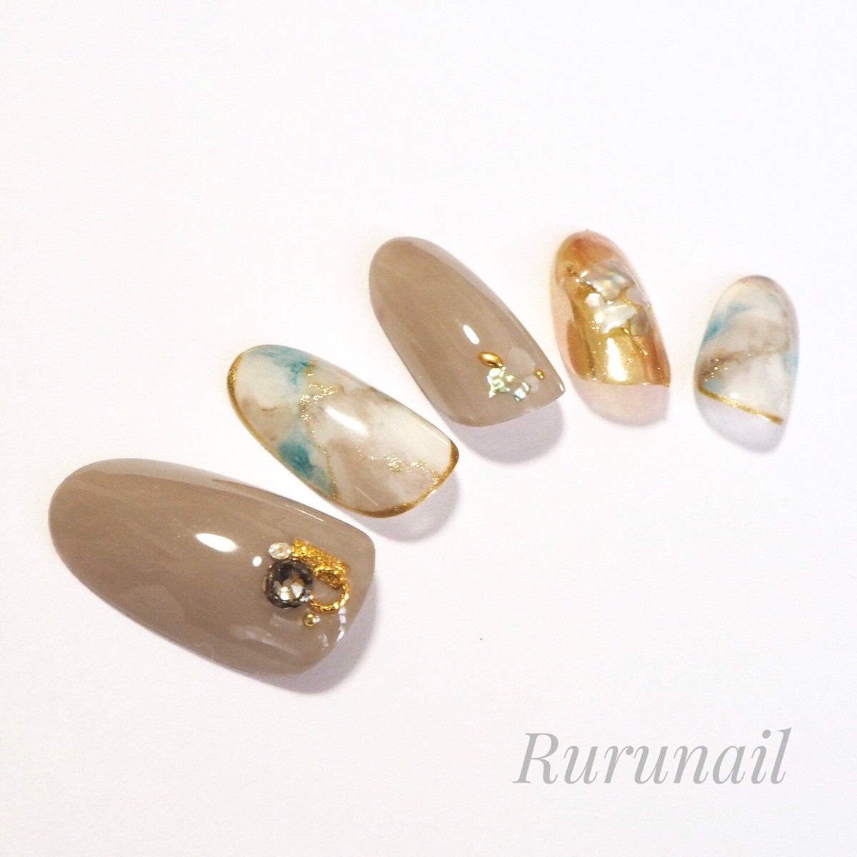 画像2: ナチュラルカラー天然石とミラーの夏ネイルチップ(408