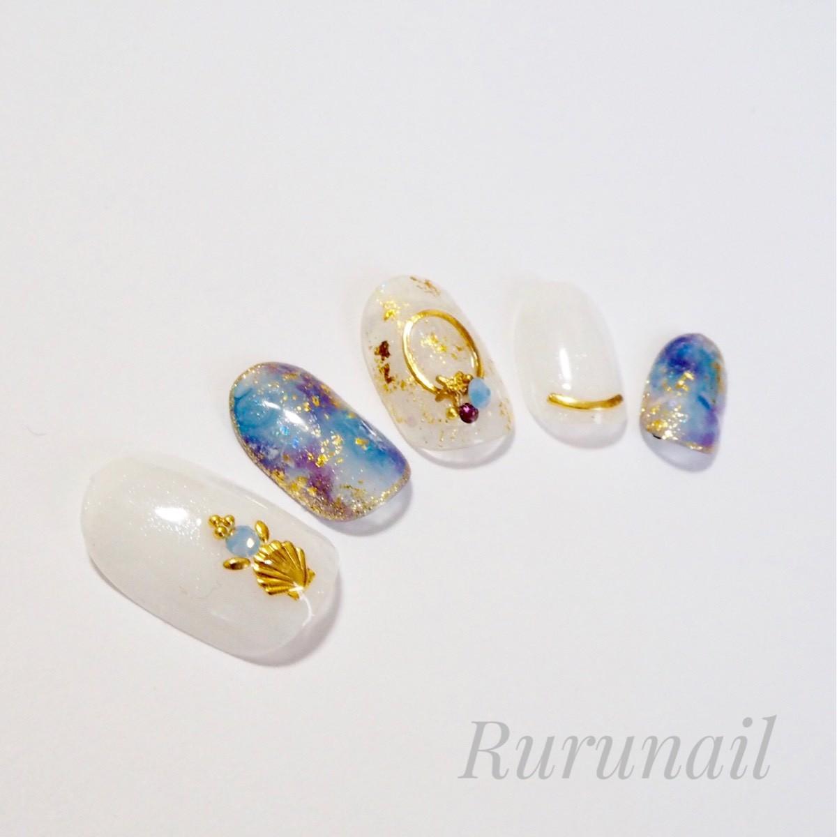 画像2: おしゃれニュアンス天然石の夏ネイルチップ(054