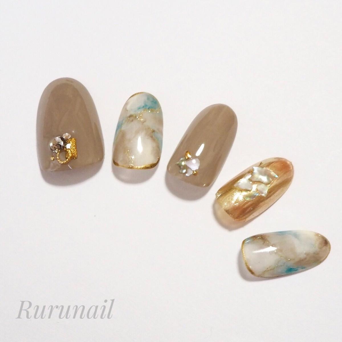 画像3: ナチュラルカラー天然石とミラーの夏ネイルチップ(408