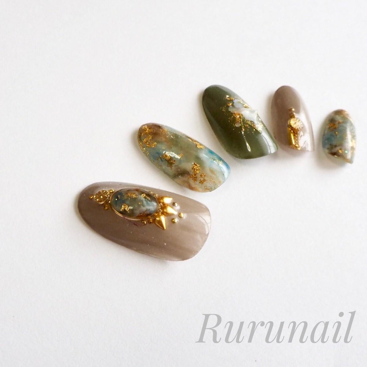 画像3: 秋ダーク天然石のニュアンスネイルチップ(037