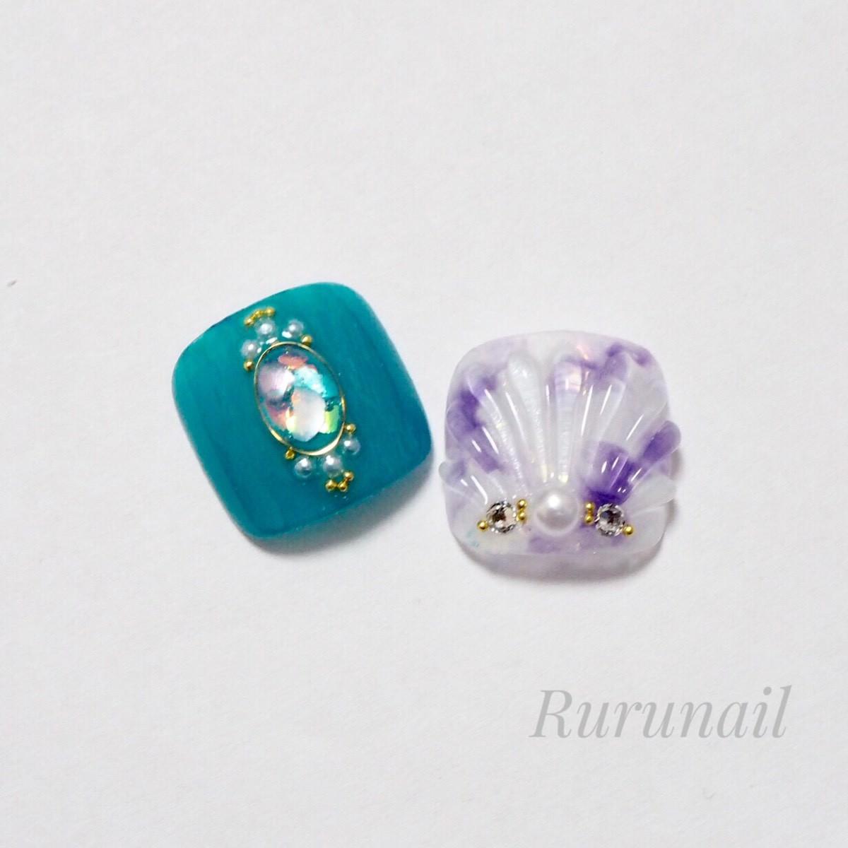 画像1: アラジンカラーの人魚の鱗夏ぺディチップ(p049親指のみ