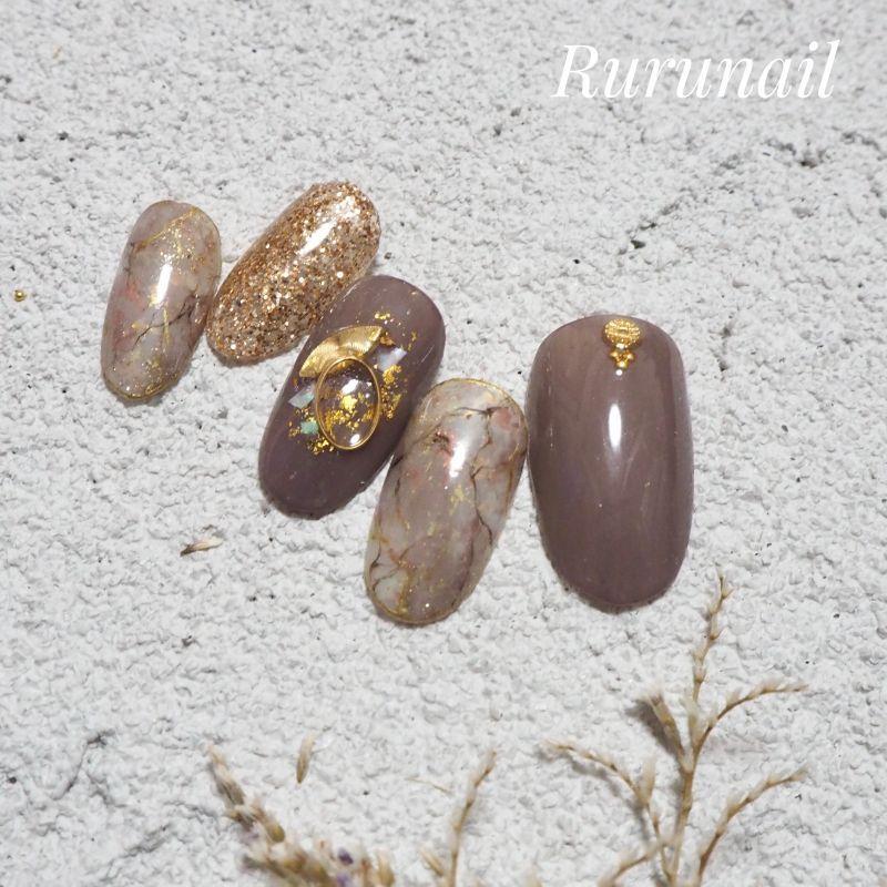 画像2: ダークピンクの天然石とラメネイルチップ(078