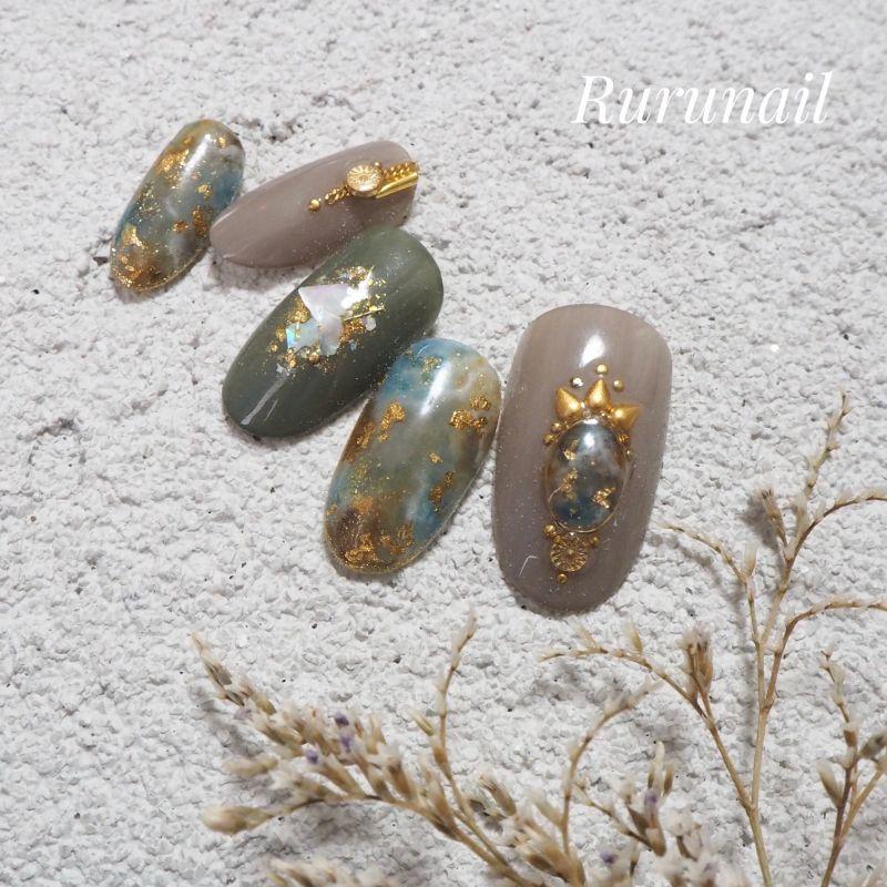 画像2: 秋ダーク天然石のニュアンスネイルチップ(037