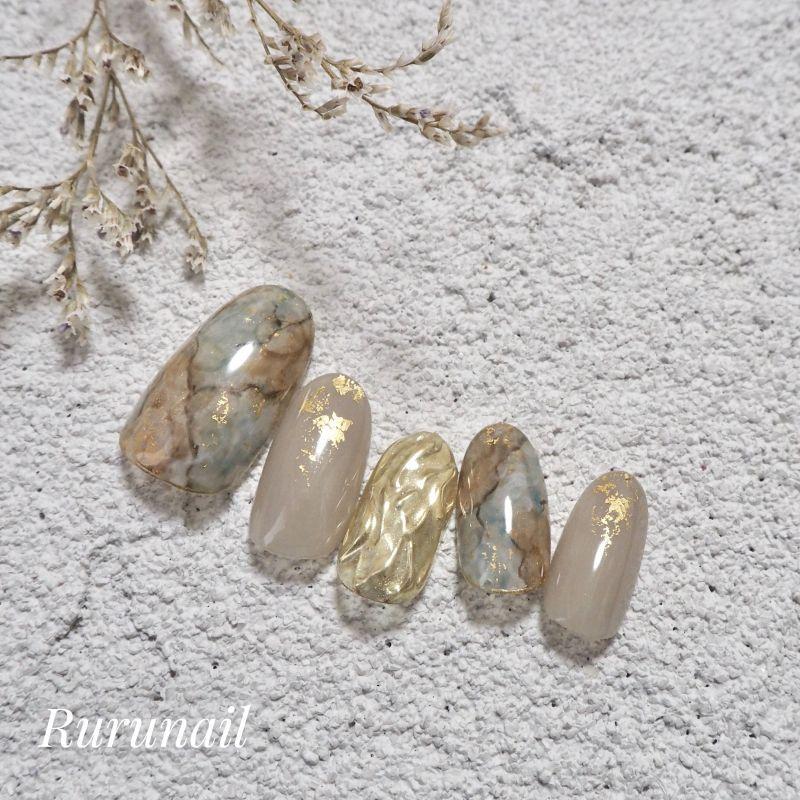 画像1: ニュアンスカラーのニュアンス天然石ネイルチップ(431