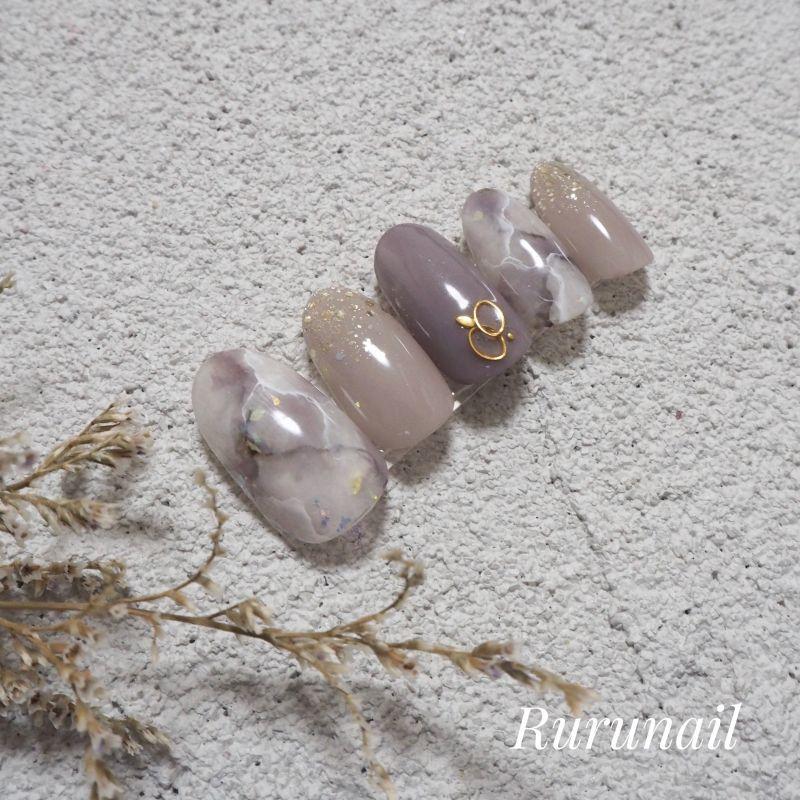 画像4: スモーキー大理石シンプルネイルチップ(432