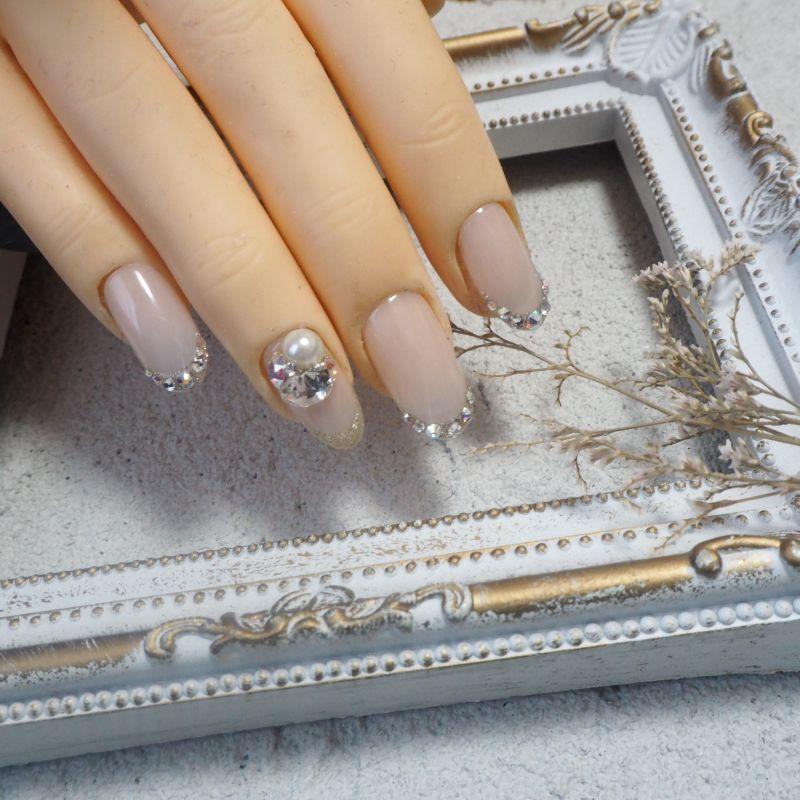 画像3: キラキラ細フレンチとビジュー上品美爪ネイルチップ438
