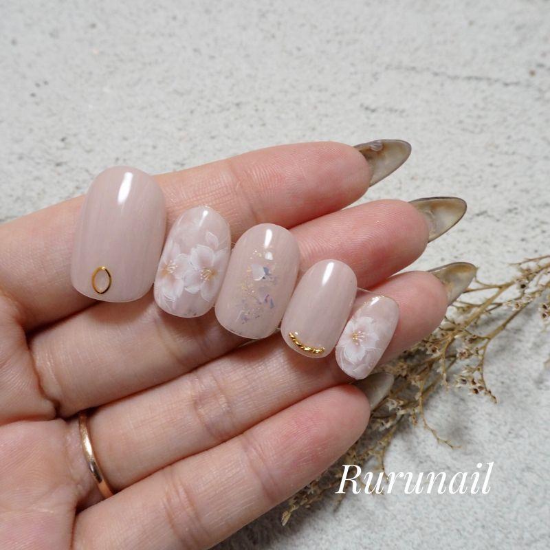 画像3: 桜の大人可愛いスモーキー春ネイルチップ446