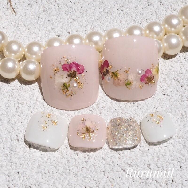 画像1: 押し花とピンクのかわいいペディチップp69