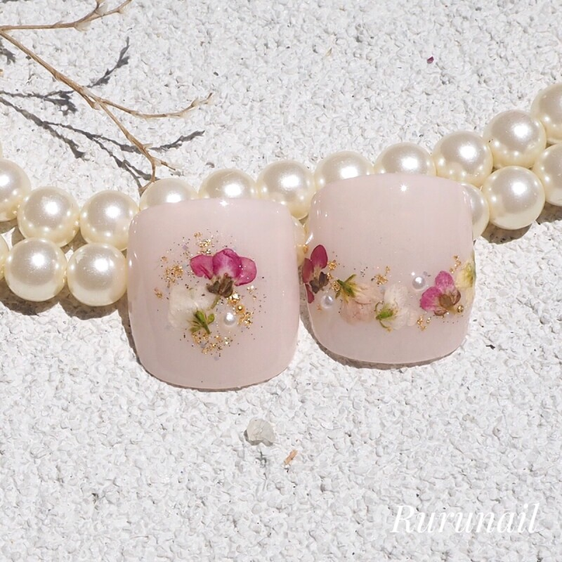 画像1: アリッサム押し花とピンクの親指ペディチップp68