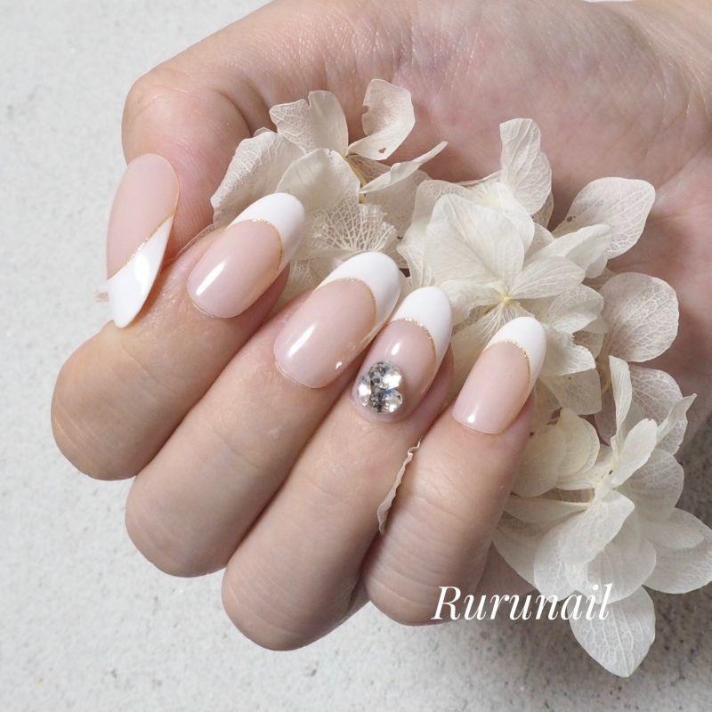 画像1: 美爪シンプルフレンチとビジュー上品ネイルチップ(470)