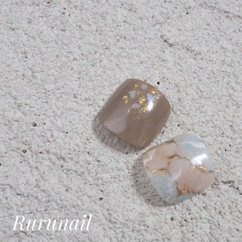 画像1: ぼんやり天然石のナチュラル親指ペディチップp84