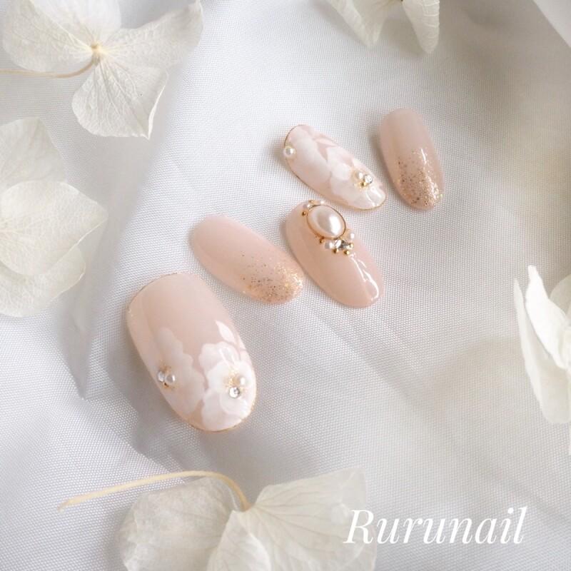 画像3: シェルピンクとローズのふんわりかわいいキラキラブライダルネイルチップ(475