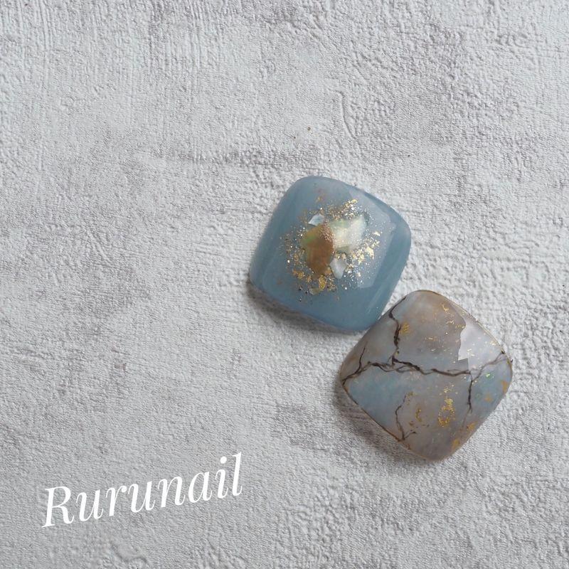 画像1: 完成品/ニュアンス天然石親指ペディチップ